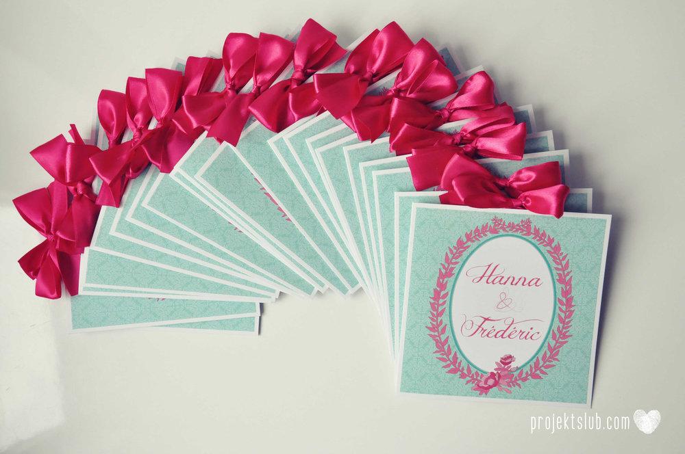 oryginalne zaproszenia ślubne najpiękniejsza papeteria miętowe love mięta malinowa wstążka elegancki projekt ślub (14).jpg