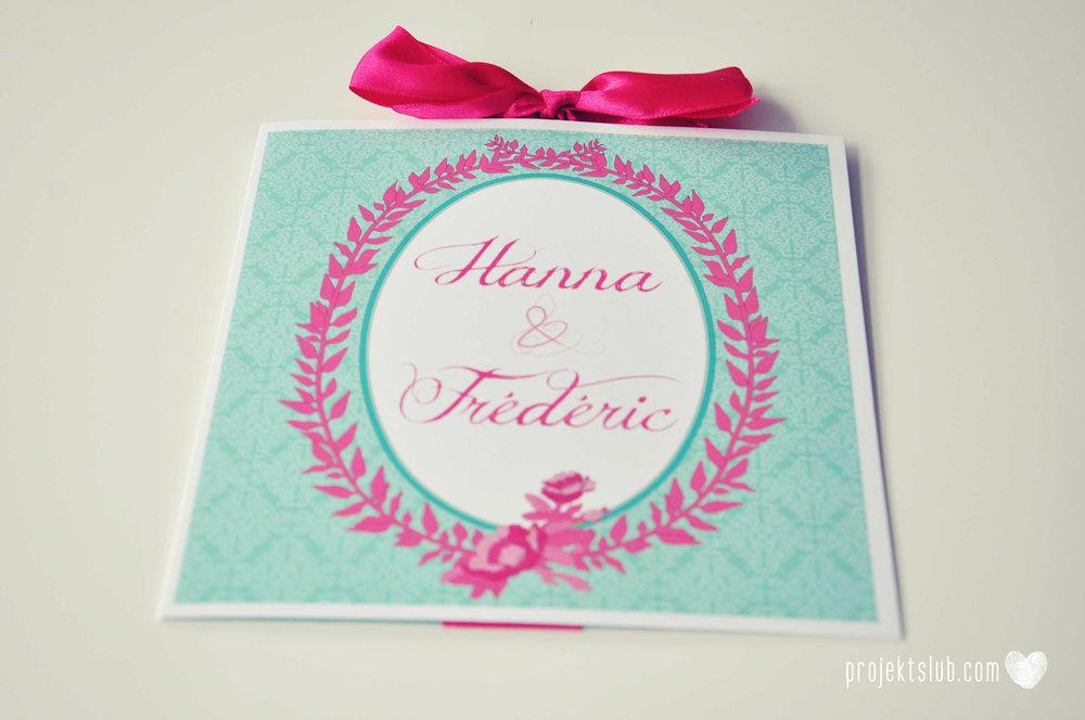 oryginalne zaproszenia ślubne najpiękniejsza papeteria miętowe love mięta malinowa wstążka elegancki projekt ślub (18).jpg