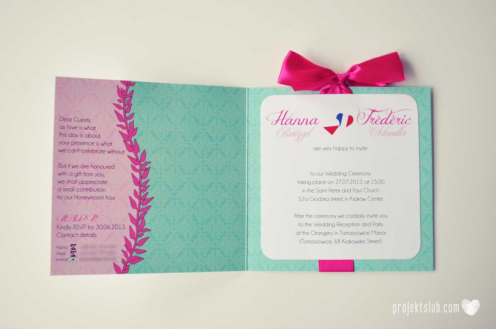 oryginalne zaproszenia ślubne najpiękniejsza papeteria miętowe love mięta malinowa wstążka elegancki projekt ślub (20).jpg