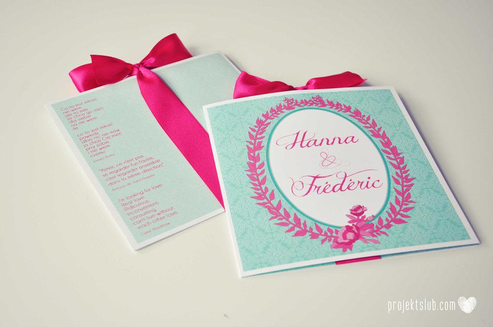 oryginalne zaproszenia ślubne najpiękniejsza papeteria miętowe love mięta malinowa wstążka elegancki projekt ślub (25).jpg