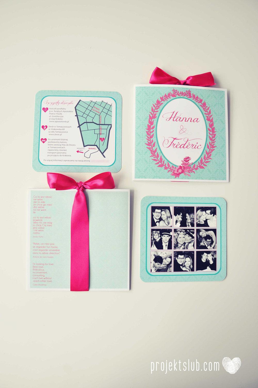 oryginalne zaproszenia ślubne najpiękniejsza papeteria miętowe love mięta malinowa wstążka elegancki projekt ślub (26).jpg