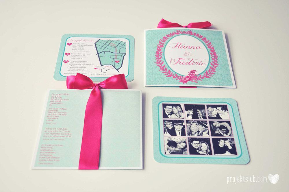 oryginalne zaproszenia ślubne najpiękniejsza papeteria miętowe love mięta malinowa wstążka elegancki projekt ślub (27).jpg