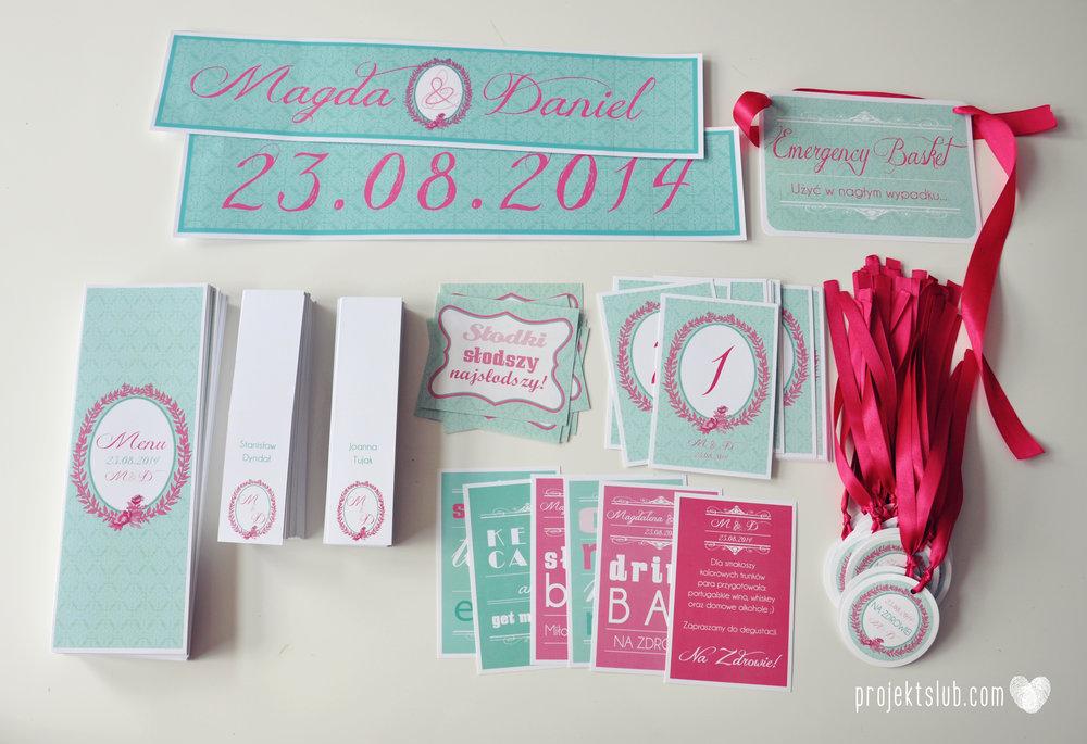 oryginalne zaproszenia ślubne najpiękniejsza papeteria miętowe love mięta malinowa wstążka elegancki projekt ślub (29).jpg