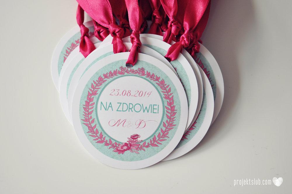 oryginalne zaproszenia ślubne najpiękniejsza papeteria miętowe love mięta malinowa wstążka elegancki projekt ślub (40).jpg