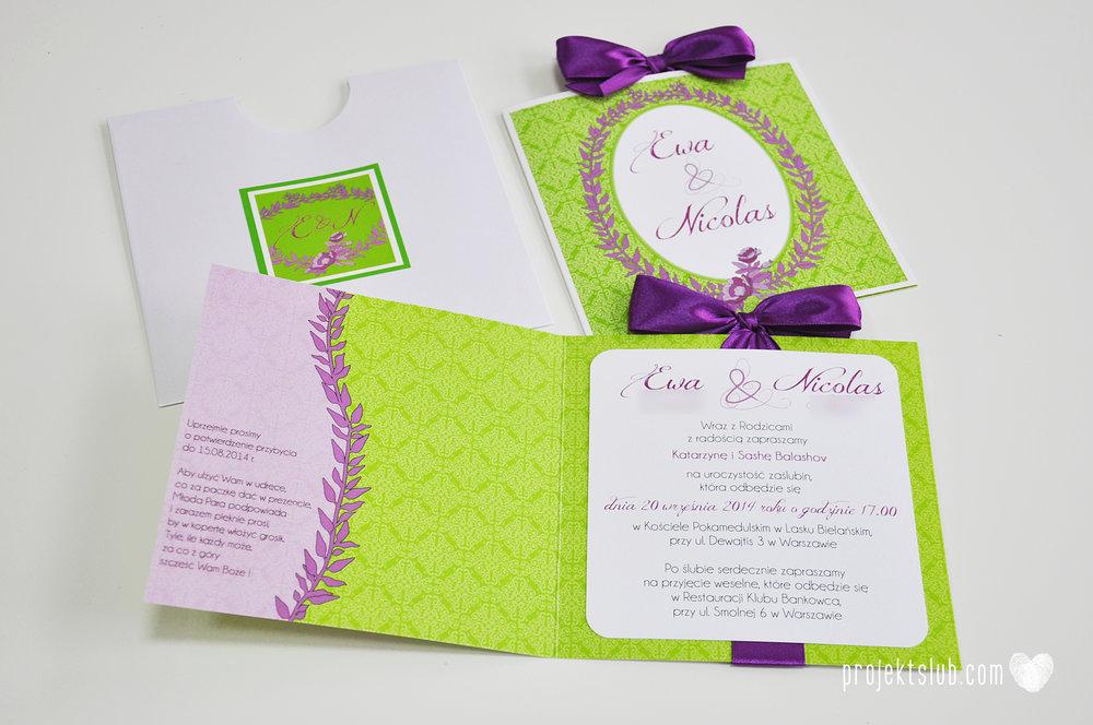 Zaproszenia ślubne wrzosowe love elegancka kolekcja zaproszeń w kolorze zieleni i fioletu Projekt Ślub (1).jpg