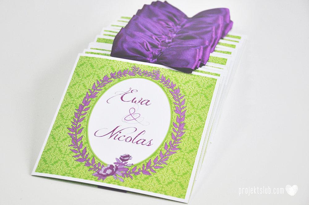 Zaproszenia ślubne wrzosowe love elegancka kolekcja zaproszeń w kolorze zieleni i fioletu Projekt Ślub (5).jpg