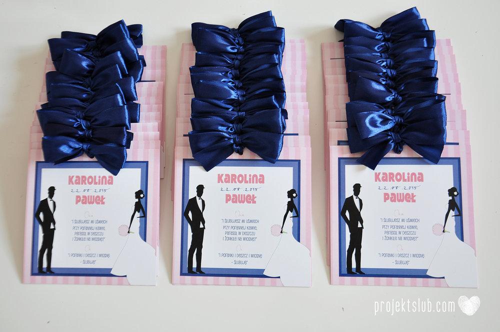 oryginalne zaproszenia ślubne w paski pastelowe retro pudrowy róż granat navy blue eleganckie dekoracje na wesele papeteria projekt ślub (2).jpg