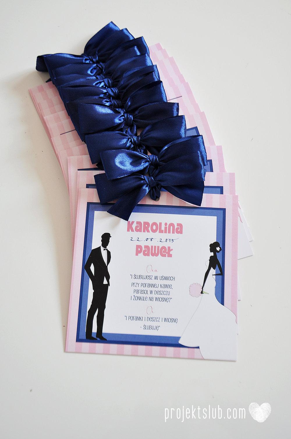 oryginalne zaproszenia ślubne w paski pastelowe retro pudrowy róż granat navy blue eleganckie dekoracje na wesele papeteria projekt ślub (5).jpg
