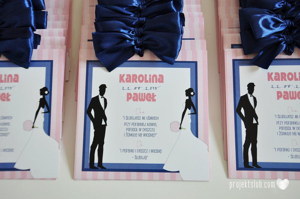 oryginalne zaproszenia ślubne w paski pastelowe retro pudrowy róż granat navy blue eleganckie dekoracje na wesele papeteria projekt ślub (4).jpg