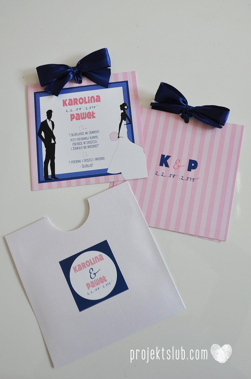 oryginalne zaproszenia ślubne w paski pastelowe retro pudrowy róż granat navy blue eleganckie dekoracje na wesele papeteria projekt ślub (6).jpg