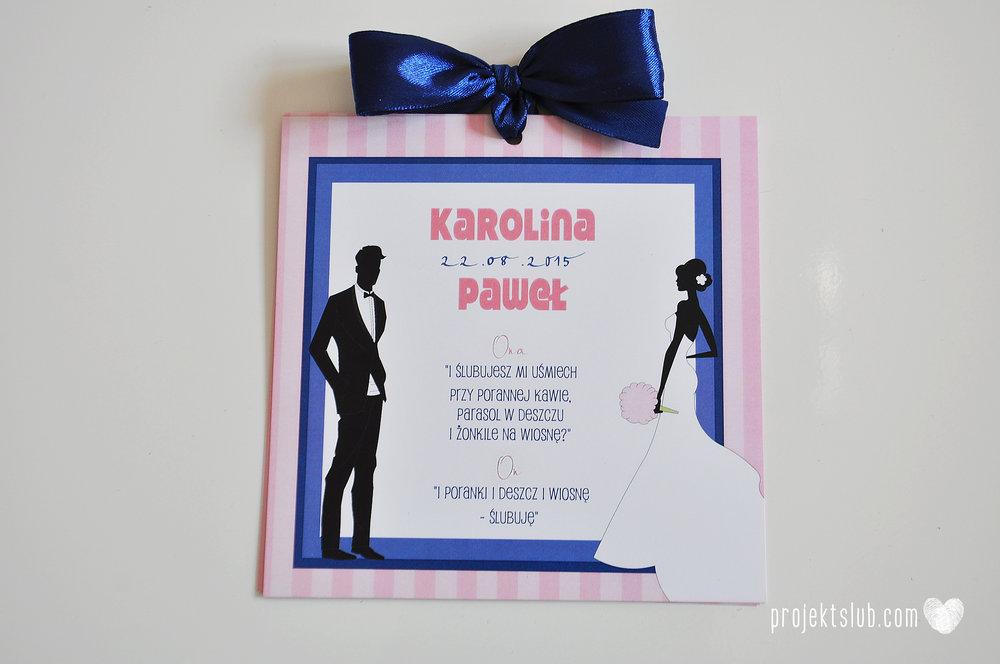 oryginalne zaproszenia ślubne w paski pastelowe retro pudrowy róż granat navy blue eleganckie dekoracje na wesele papeteria projekt ślub (7).jpg