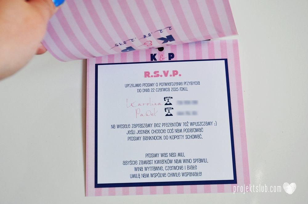 oryginalne zaproszenia ślubne w paski pastelowe retro pudrowy róż granat navy blue eleganckie dekoracje na wesele papeteria projekt ślub (9).jpg