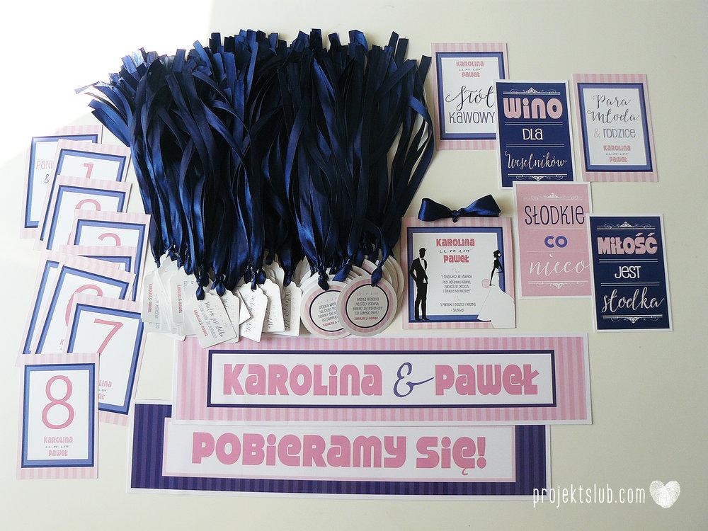 oryginalne zaproszenia ślubne w paski pastelowe retro pudrowy róż granat navy blue eleganckie dekoracje na wesele papeteria projekt ślub (13).jpg