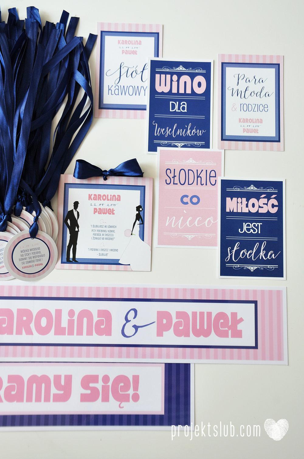 oryginalne zaproszenia ślubne w paski pastelowe retro pudrowy róż granat navy blue eleganckie dekoracje na wesele papeteria projekt ślub (14).jpg