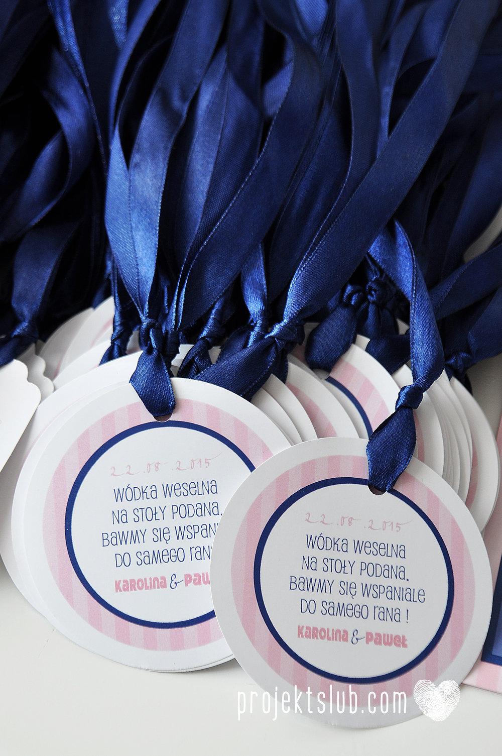 oryginalne zaproszenia ślubne w paski pastelowe retro pudrowy róż granat navy blue eleganckie dekoracje na wesele papeteria projekt ślub (16).jpg
