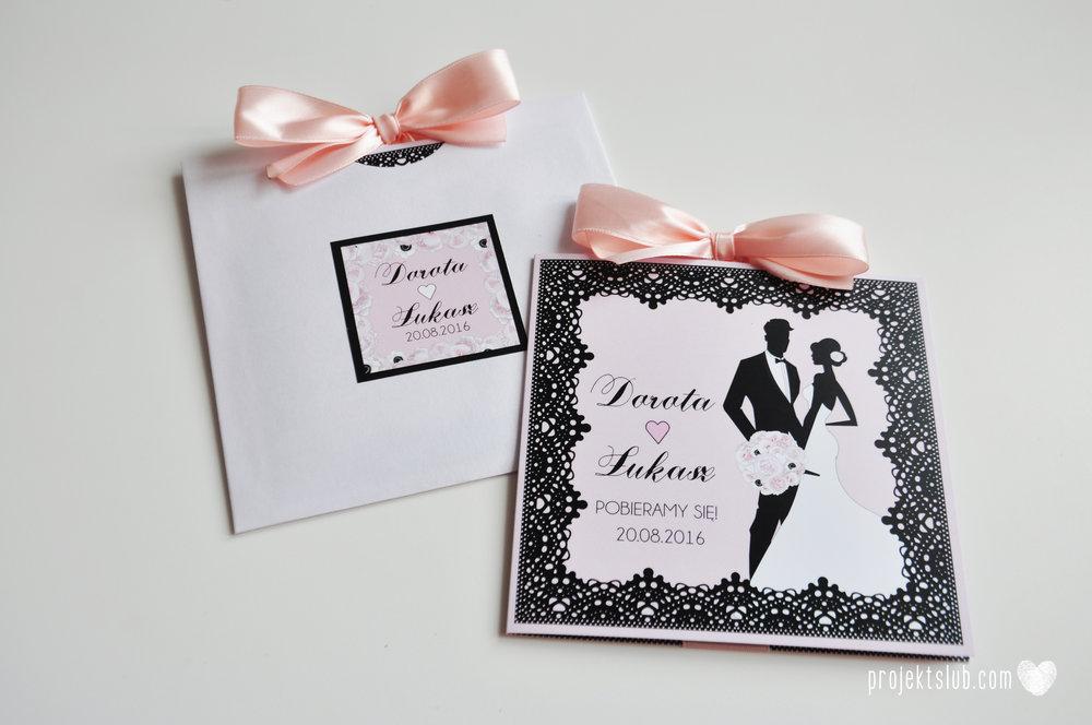 Eleganckie zaproszenia ślubne rysunek pary młodej róż i czerń glamour koronkowe pastelowe Projekt ŚLub (18).jpg