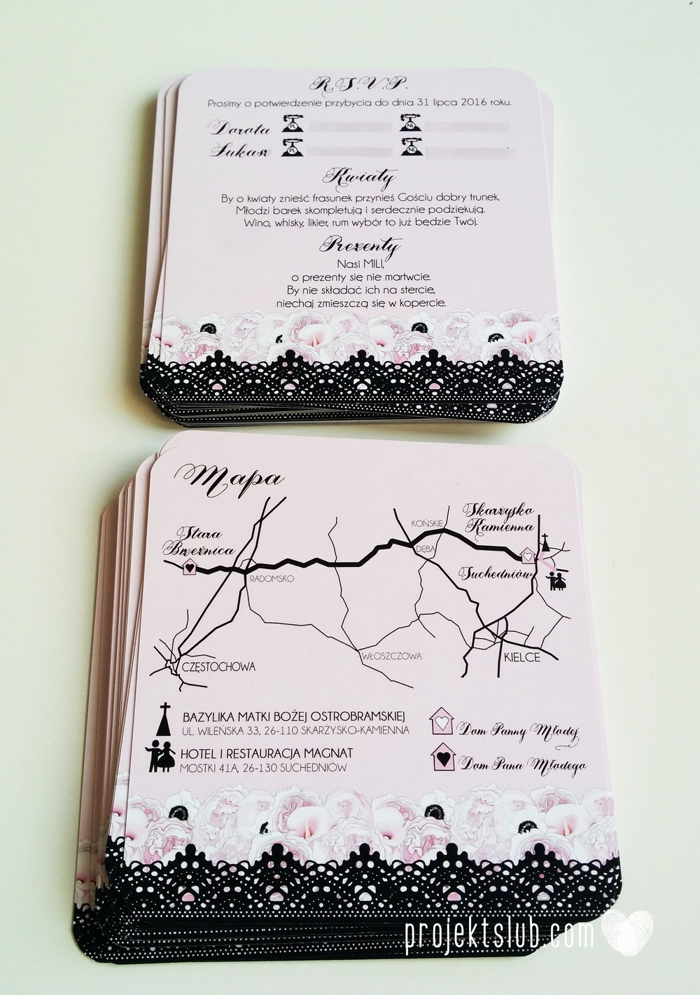 Eleganckie zaproszenia ślubne rysunek pary młodej róż i czerń glamour koronkowe pastelowe Projekt ŚLub (5).jpg