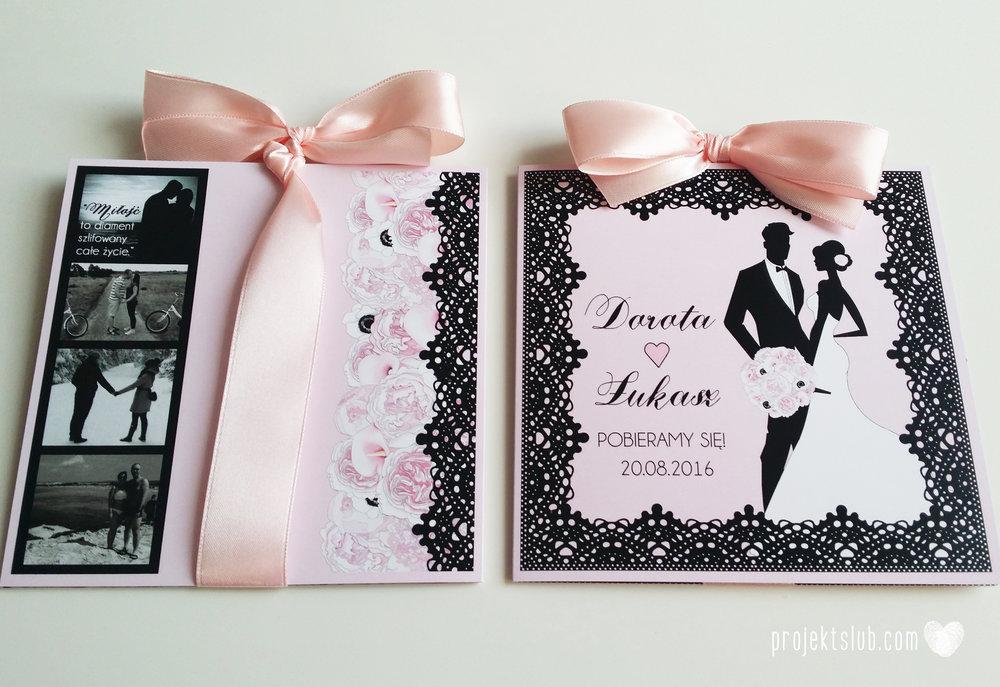 Eleganckie zaproszenia ślubne rysunek pary młodej róż i czerń glamour koronkowe pastelowe Projekt ŚLub (7).jpg