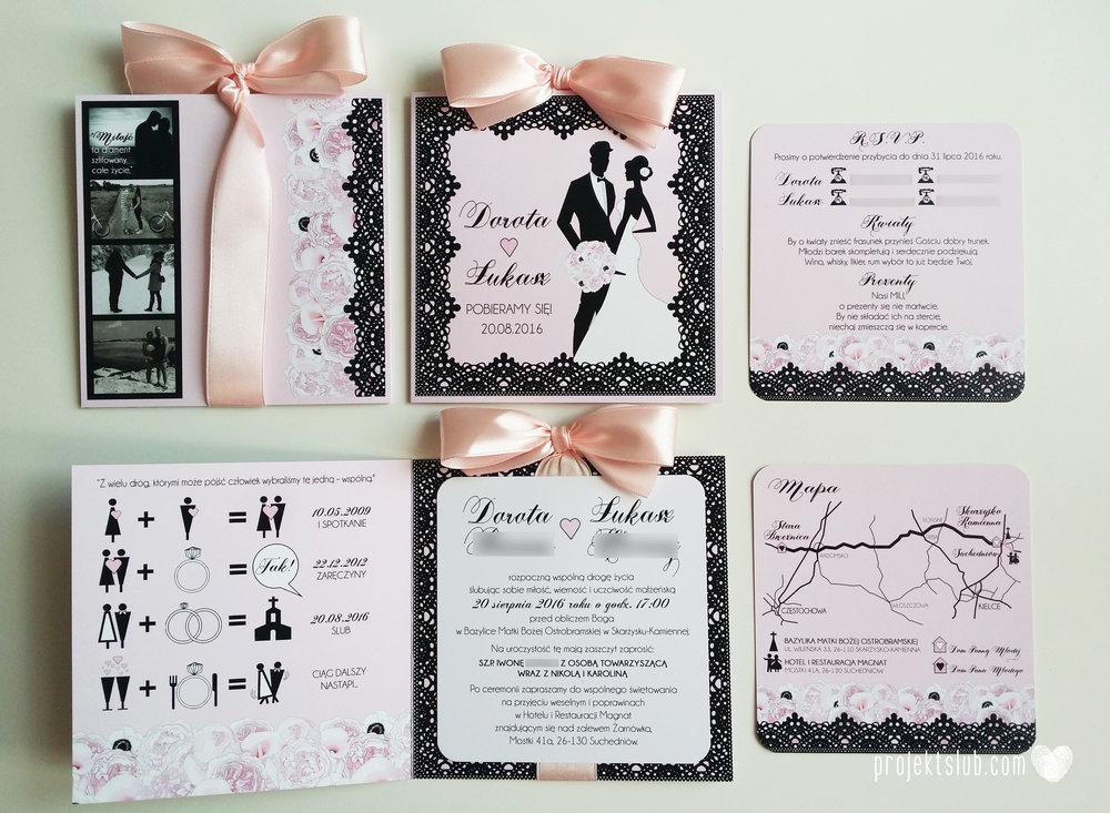 Eleganckie zaproszenia ślubne rysunek pary młodej róż i czerń glamour koronkowe pastelowe Projekt ŚLub (6).jpg