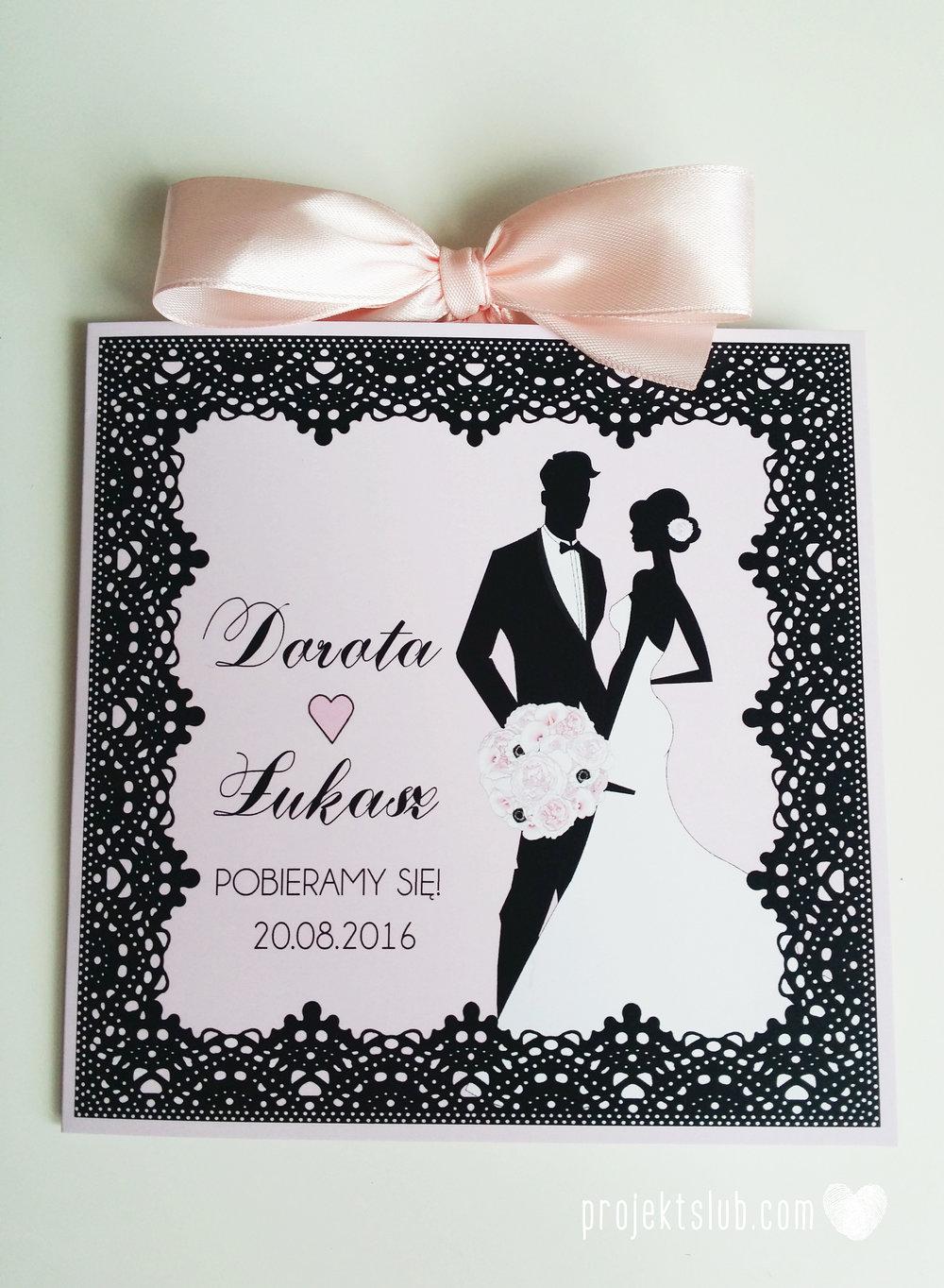 Eleganckie zaproszenia ślubne rysunek pary młodej róż i czerń glamour koronkowe pastelowe Projekt ŚLub (9).jpg