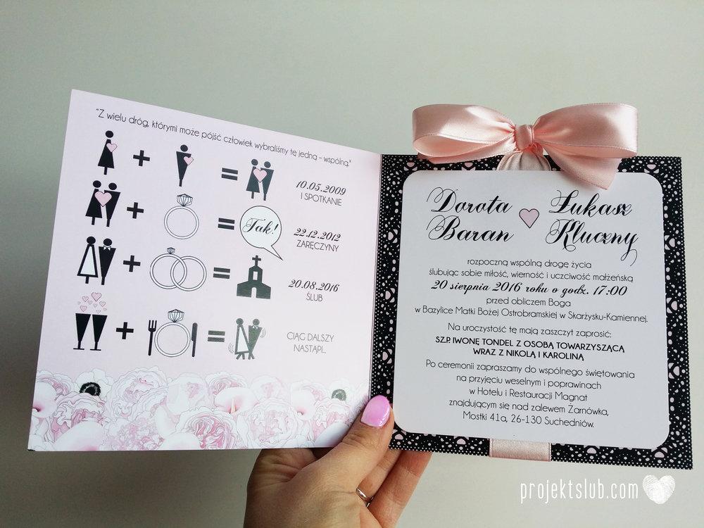 Eleganckie zaproszenia ślubne rysunek pary młodej róż i czerń glamour koronkowe pastelowe Projekt ŚLub (8).jpg