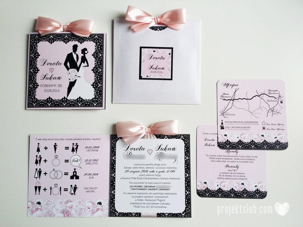 Eleganckie zaproszenia ślubne rysunek pary młodej róż i czerń glamour koronkowe pastelowe Projekt ŚLub (10).jpg