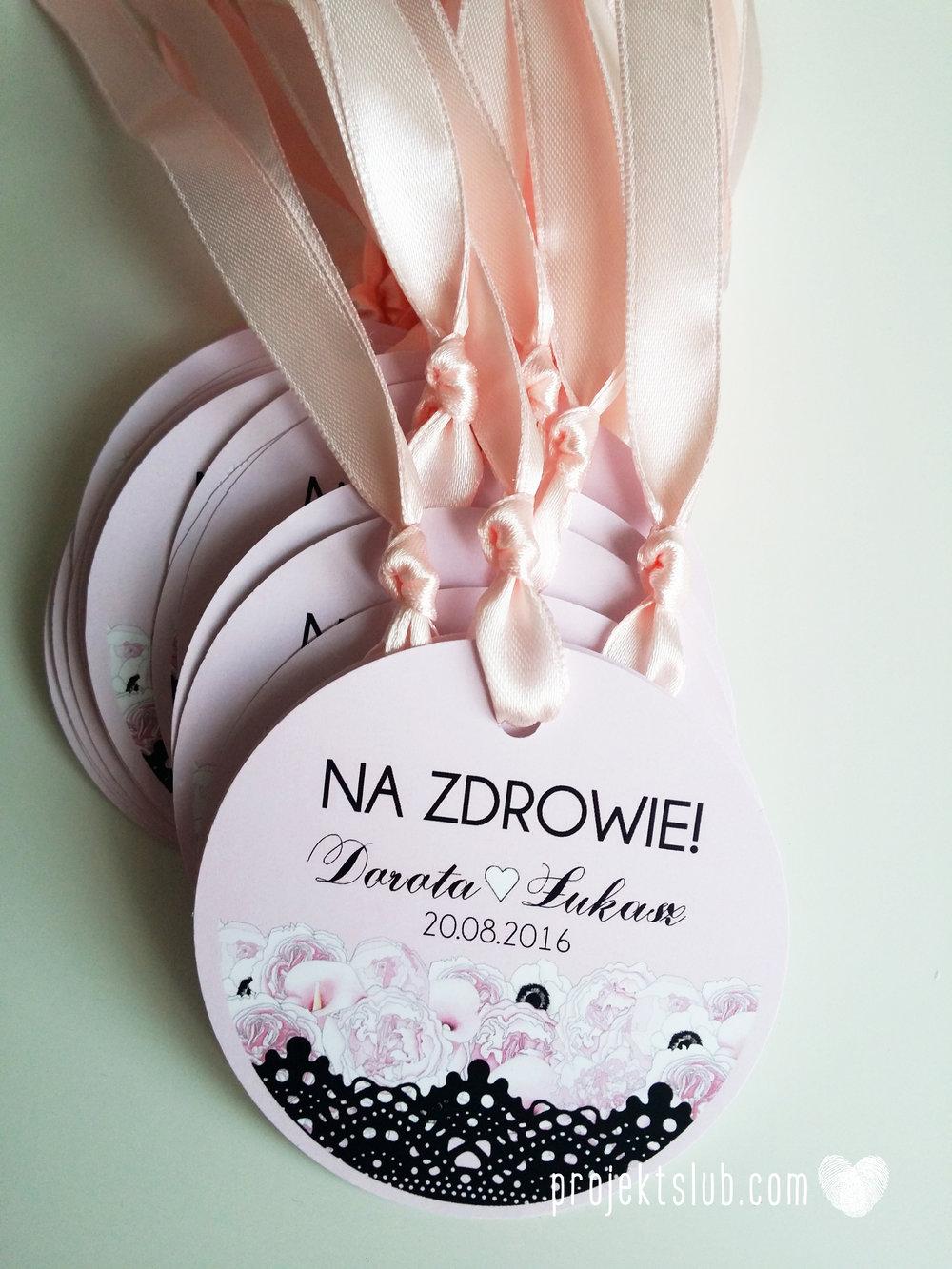 Eleganckie zaproszenia ślubne rysunek pary młodej róż i czerń glamour koronkowe pastelowe Projekt ŚLub (12).jpg