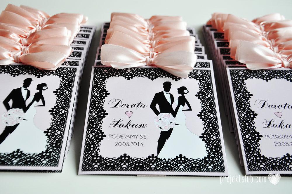 Eleganckie zaproszenia ślubne rysunek pary młodej róż i czerń glamour koronkowe pastelowe Projekt ŚLub (13).jpg