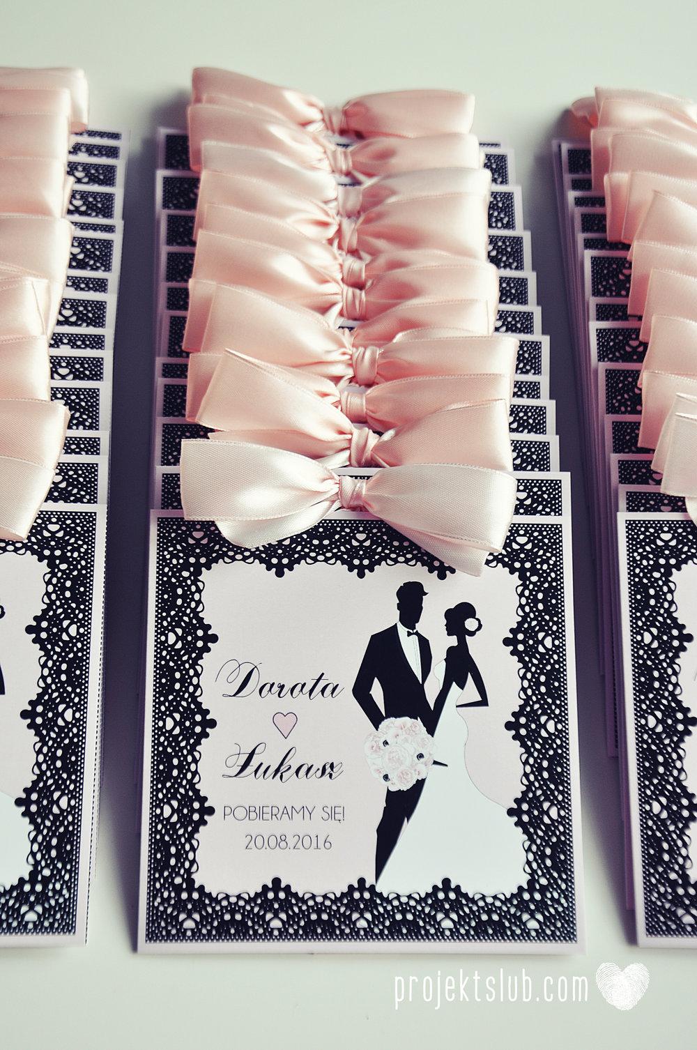 Eleganckie zaproszenia ślubne rysunek pary młodej róż i czerń glamour koronkowe pastelowe Projekt ŚLub (14).jpg