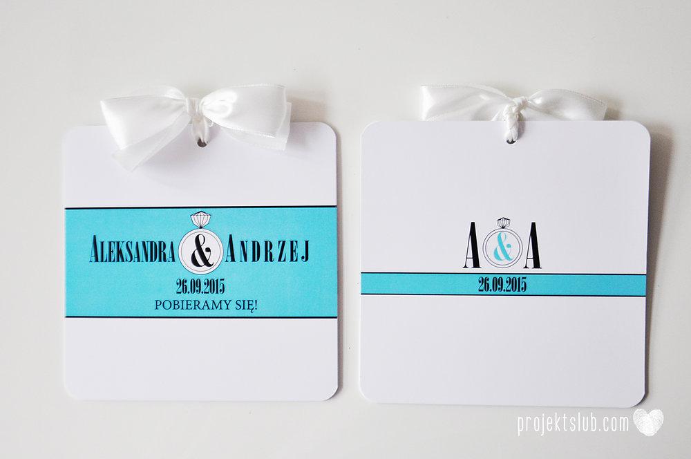 eleganckie zaproszenie ślubne śniadanie u Tiffany'ego 2 błękit biel glamour pierścionek Projekt ślub (3).jpg