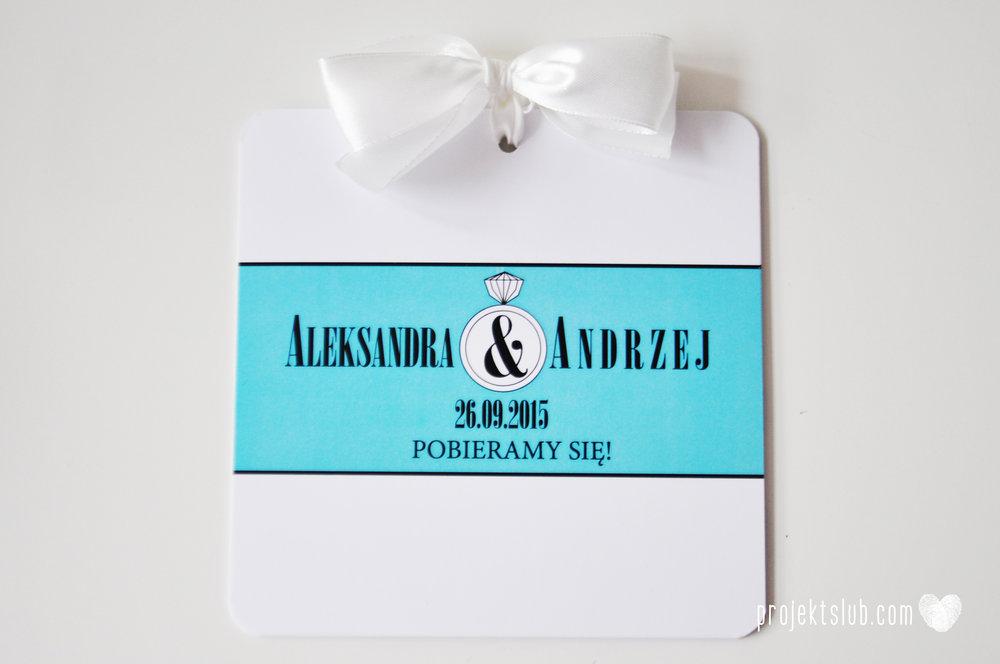 eleganckie zaproszenie ślubne śniadanie u Tiffany'ego 2 błękit biel glamour pierścionek Projekt ślub (4).jpg