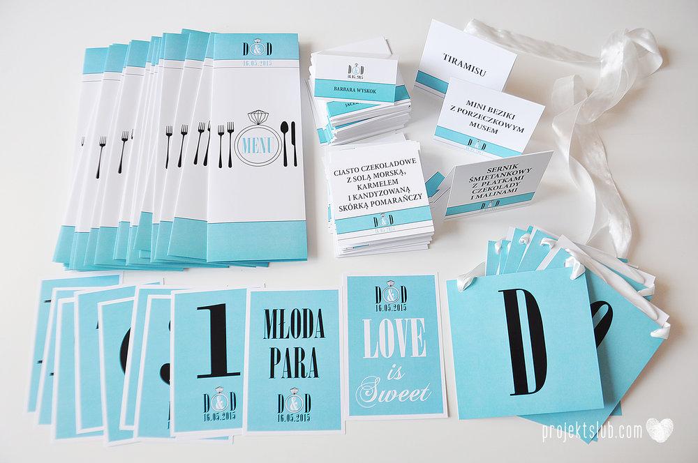 eleganckie zaproszenie ślubne śniadanie u Tiffany'ego 3 błękit biel glamour pierścionek Projekt ślub (11).jpg