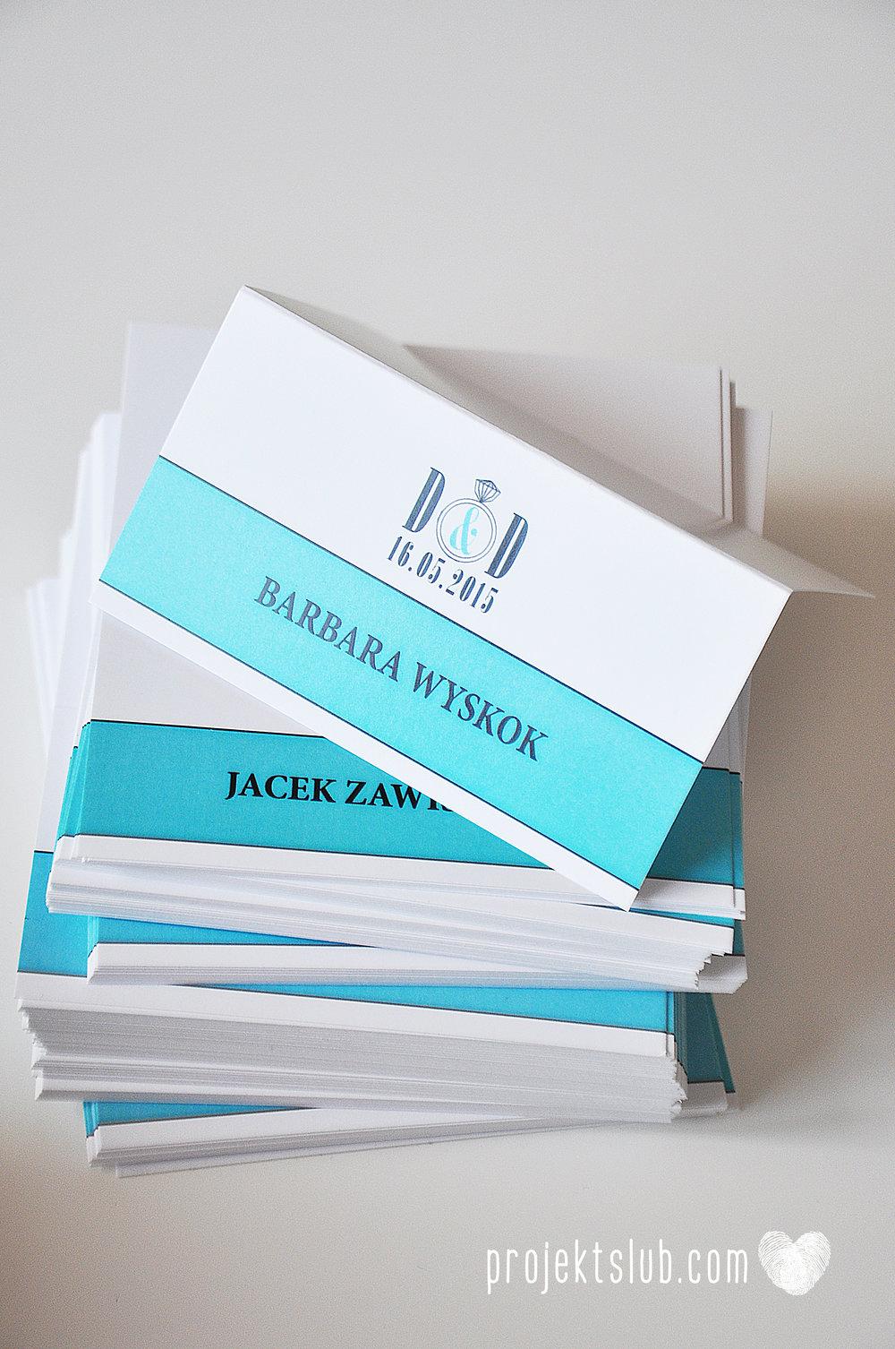 eleganckie zaproszenie ślubne śniadanie u Tiffany'ego 3 błękit biel glamour pierścionek Projekt ślub (15).jpg