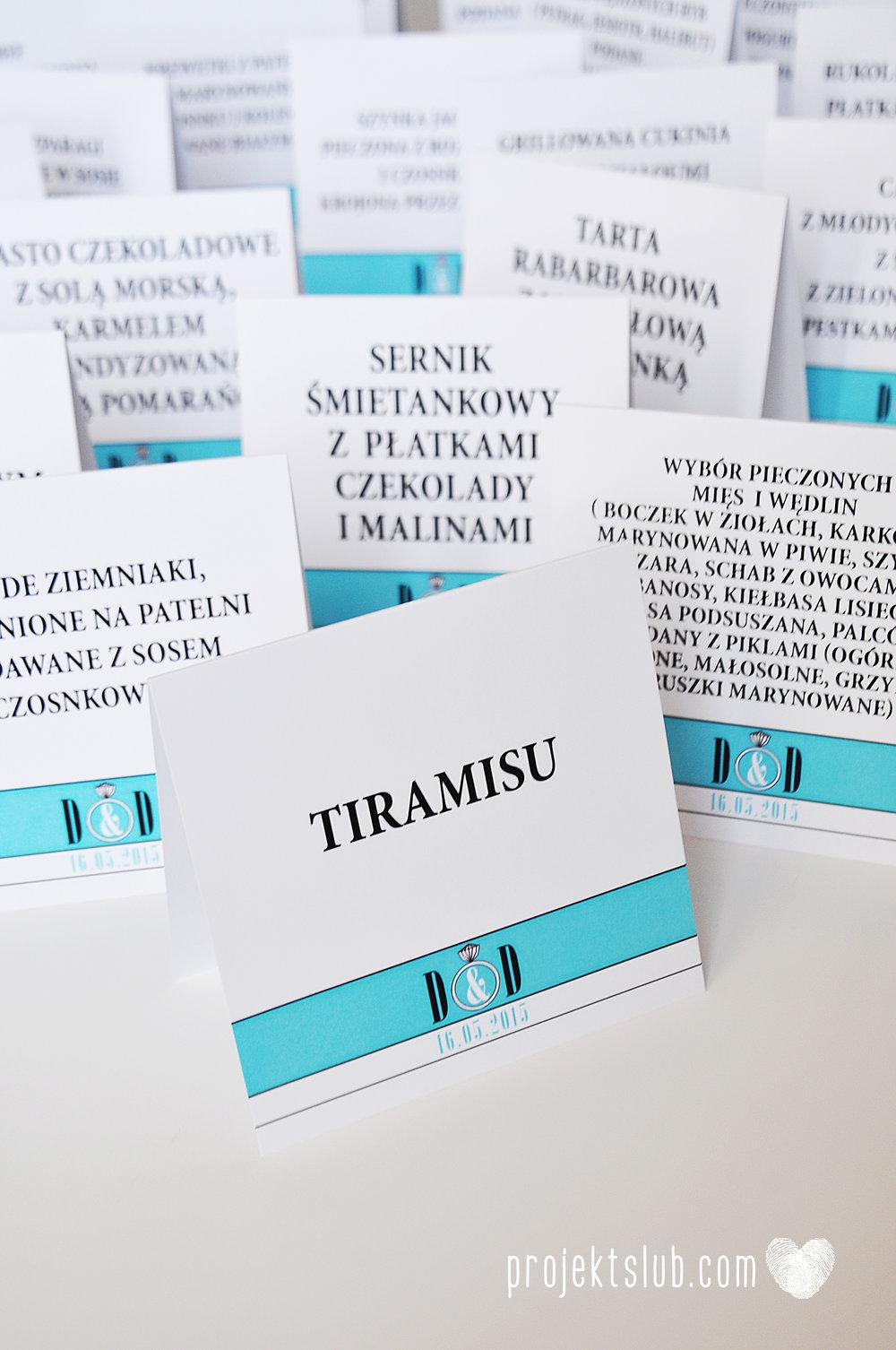 eleganckie zaproszenie ślubne śniadanie u Tiffany'ego 3 błękit biel glamour pierścionek Projekt ślub (20).jpg