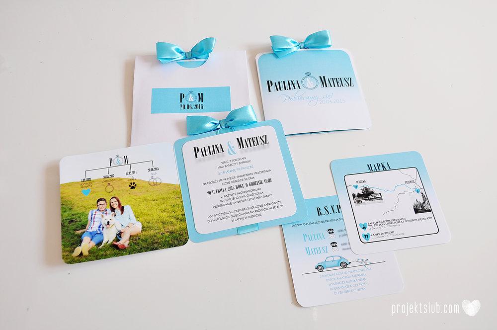 eleganckie zaproszenie ślubne śniadanie u Tiffany'ego 4 błękit biel glamour ombre cieniowane ze zdjęciem graficzne Projekt Ślub (12).jpg