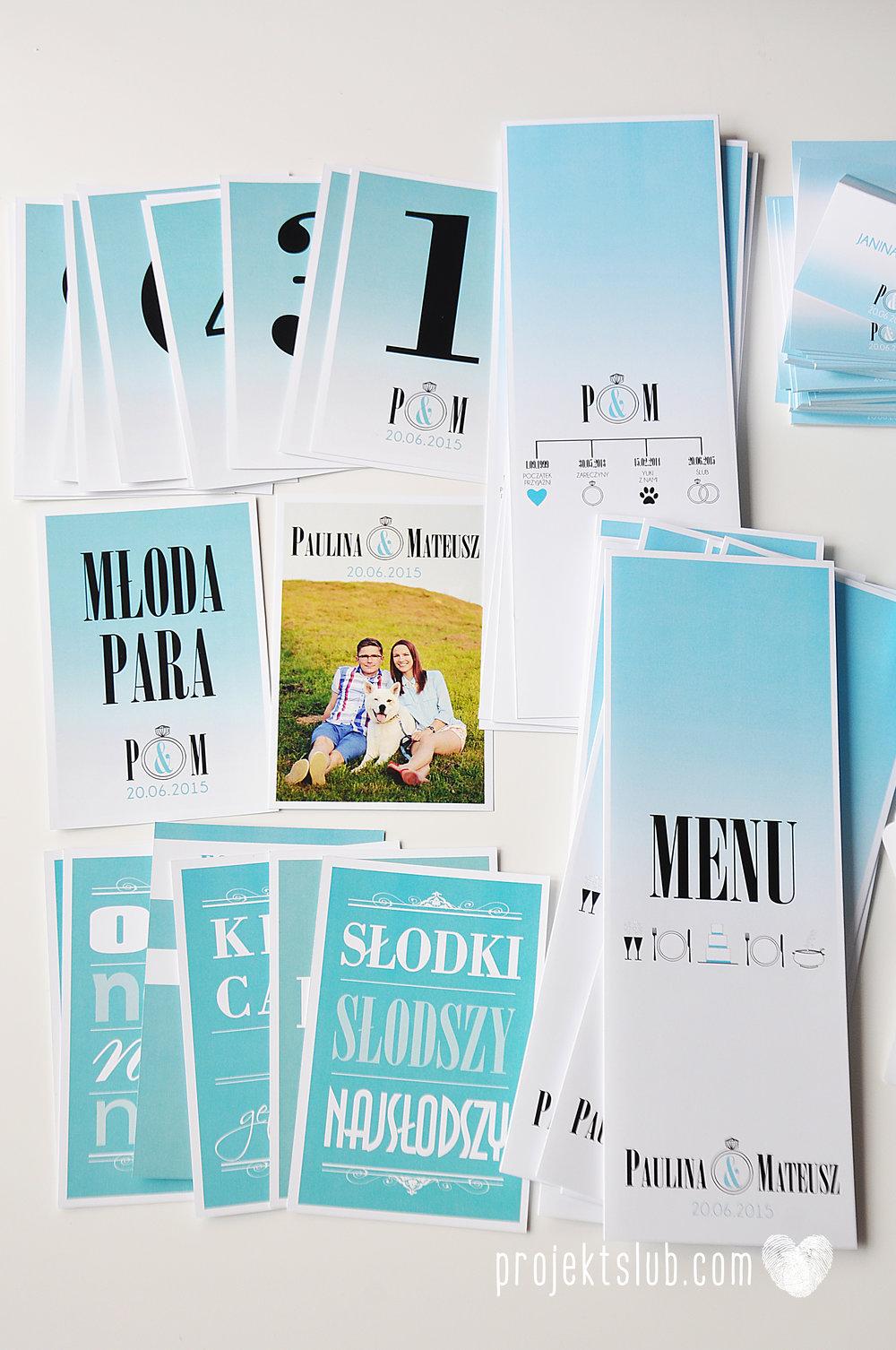 eleganckie zaproszenie ślubne śniadanie u Tiffany'ego 4 błękit biel glamour ombre cieniowane ze zdjęciem graficzne Projekt Ślub (17).jpg