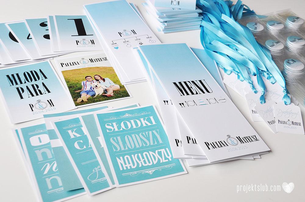 eleganckie zaproszenie ślubne śniadanie u Tiffany'ego 4 błękit biel glamour ombre cieniowane ze zdjęciem graficzne Projekt Ślub (18).jpg