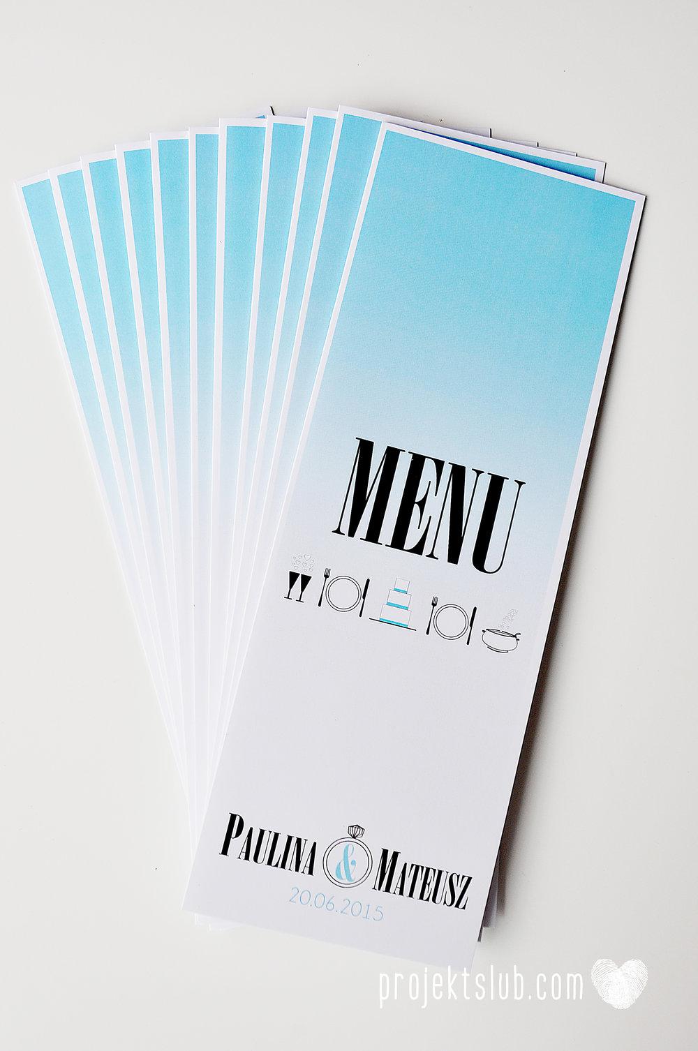eleganckie zaproszenie ślubne śniadanie u Tiffany'ego 4 błękit biel glamour ombre cieniowane ze zdjęciem graficzne Projekt Ślub (19).jpg