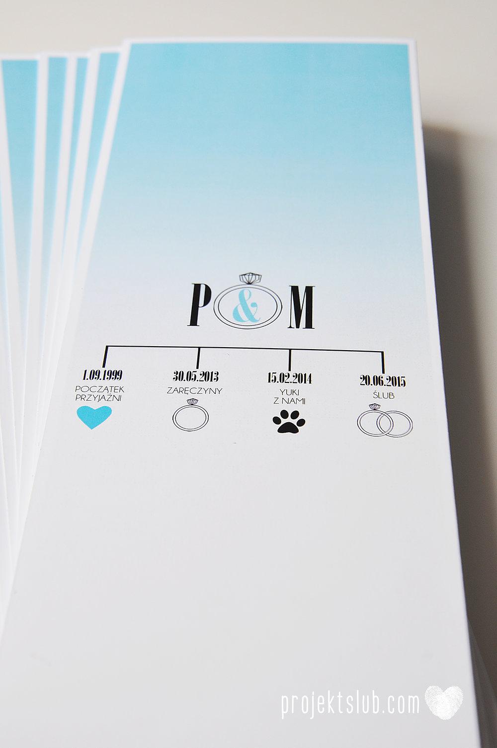 eleganckie zaproszenie ślubne śniadanie u Tiffany'ego 4 błękit biel glamour ombre cieniowane ze zdjęciem graficzne Projekt Ślub (20).jpg
