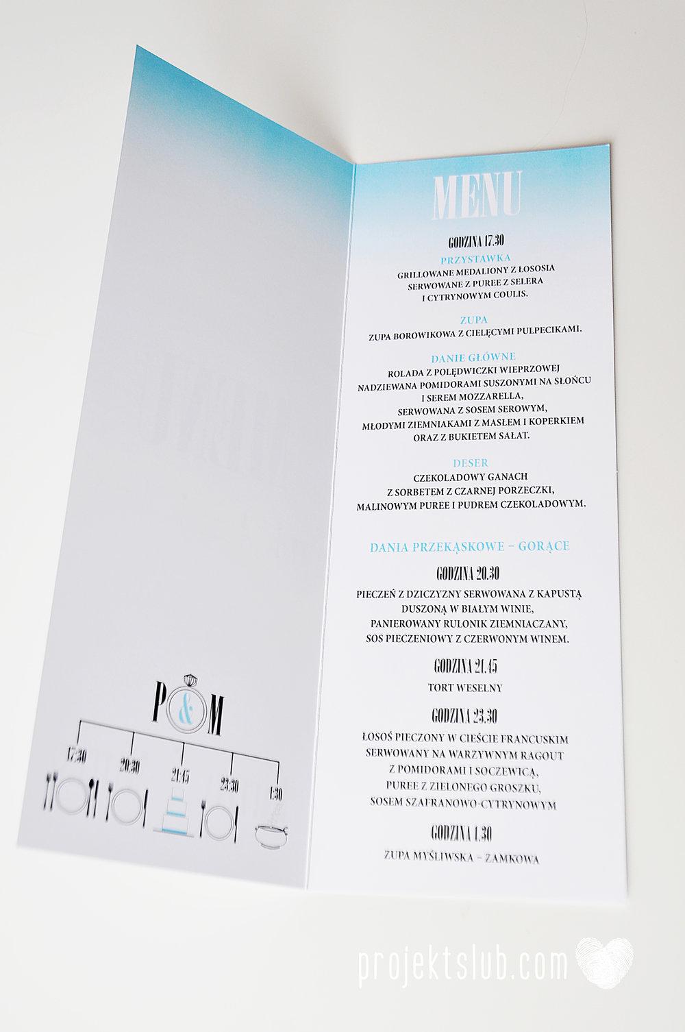 eleganckie zaproszenie ślubne śniadanie u Tiffany'ego 4 błękit biel glamour ombre cieniowane ze zdjęciem graficzne Projekt Ślub (29).jpg