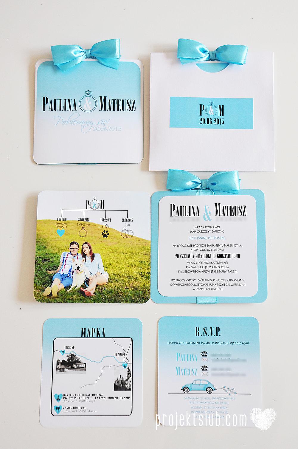 eleganckie zaproszenie ślubne śniadanie u Tiffany'ego 4 błękit biel glamour ombre cieniowane ze zdjęciem graficzne Projekt Ślub (7).jpg