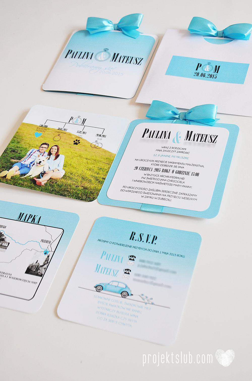 eleganckie zaproszenie ślubne śniadanie u Tiffany'ego 4 błękit biel glamour ombre cieniowane ze zdjęciem graficzne Projekt Ślub (8).jpg