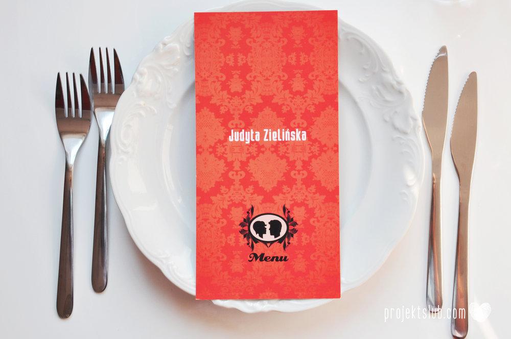 Oryginalne zaproszenie ślubne z kameą czerwone ze wstążką i zdjęciem narzeczonych wyjątkowy design elegancka grafika Czerwień Kamei Projekt Ślub (22).jpg