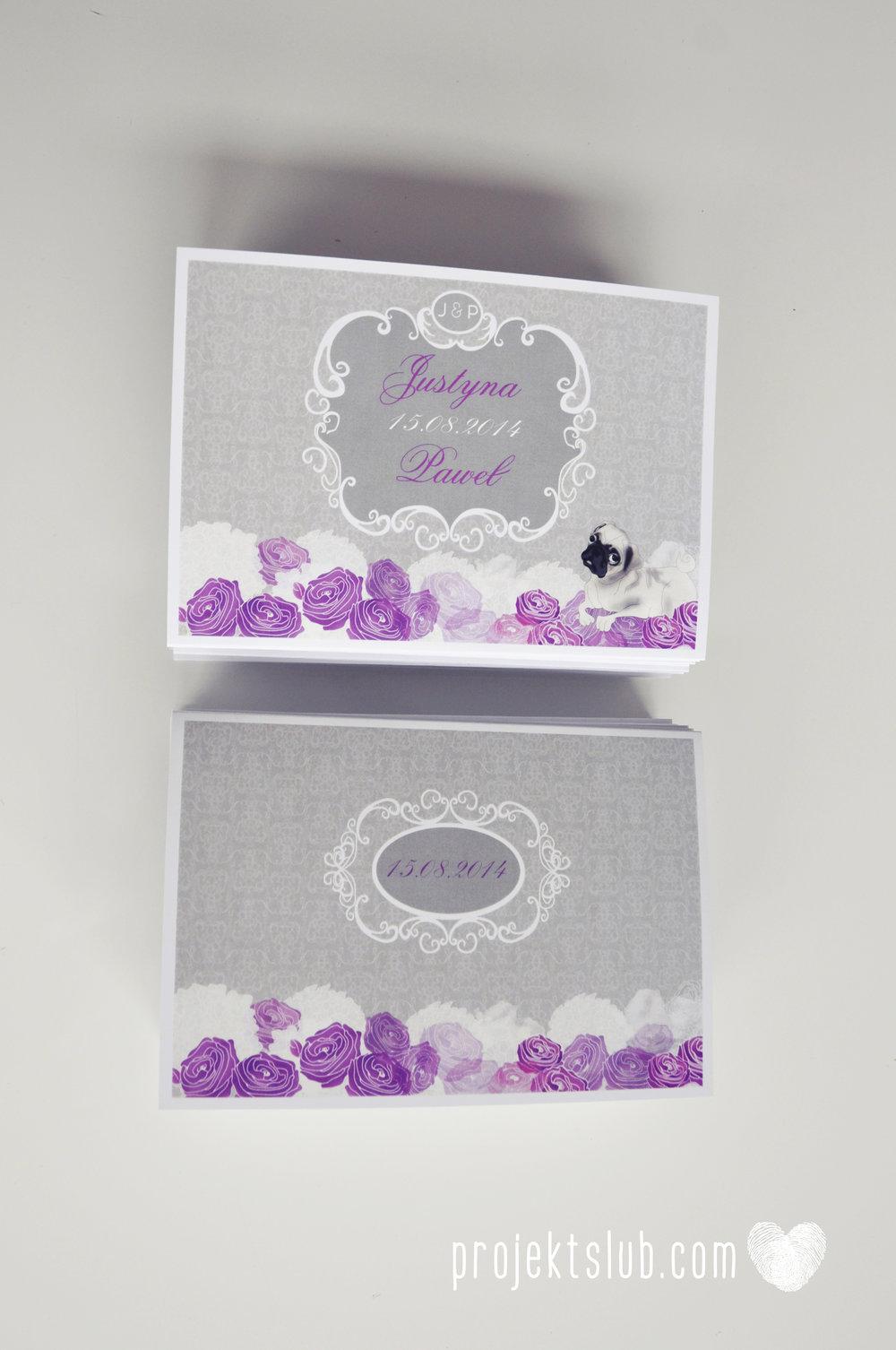 kolekcja papeteri ślubnej w stylu glamour eleganckie kwiatowe fioletowo szare zaproszenia ślubne z pupilkiem rysunek pieska Projekt Ślub (4).jpg