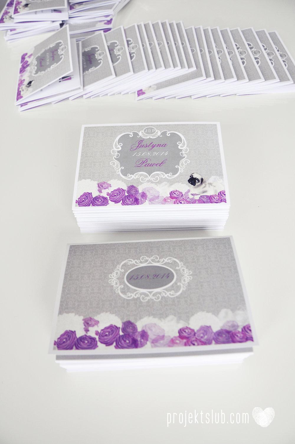 kolekcja papeteri ślubnej w stylu glamour eleganckie kwiatowe fioletowo szare zaproszenia ślubne z pupilkiem rysunek pieska Projekt Ślub (5).jpg