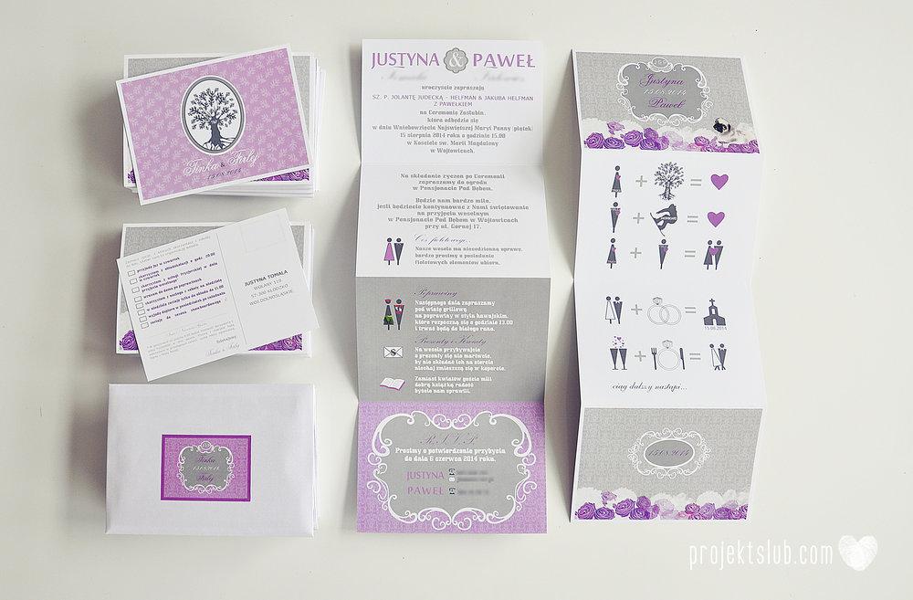 kolekcja papeteri ślubnej w stylu glamour eleganckie kwiatowe fioletowo szare zaproszenia ślubne z pupilkiem rysunek pieska Projekt Ślub (8).jpg