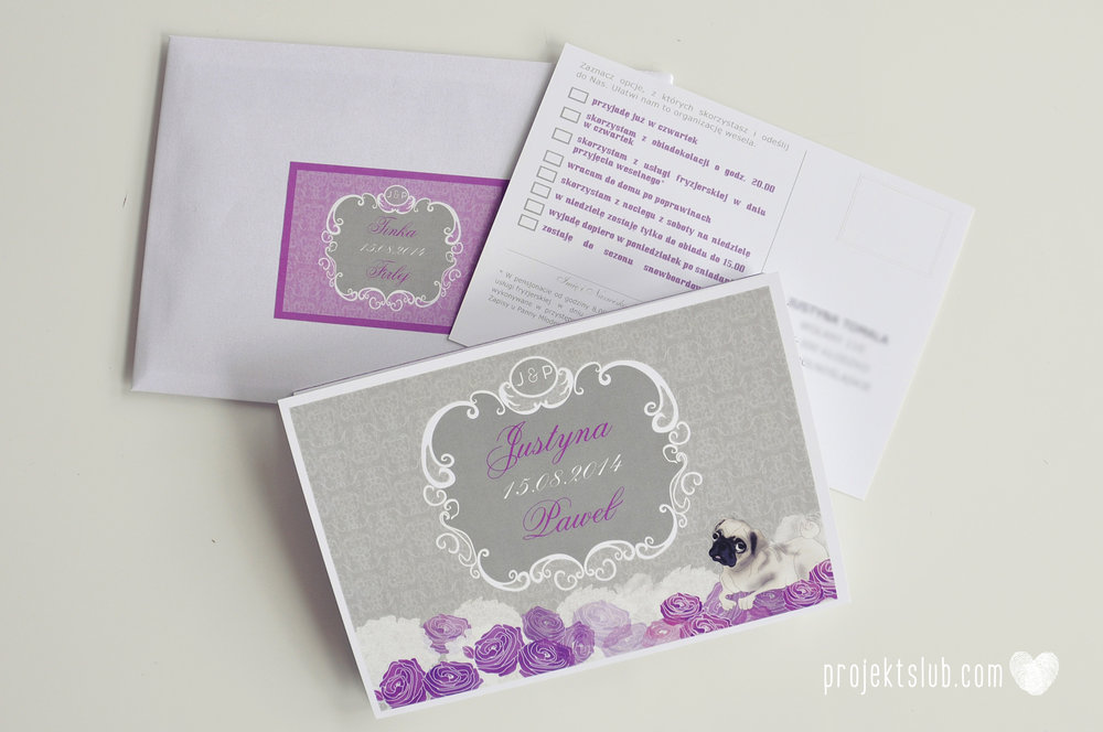 kolekcja papeteri ślubnej w stylu glamour eleganckie kwiatowe fioletowo szare zaproszenia ślubne z pupilkiem rysunek pieska Projekt Ślub (9).jpg