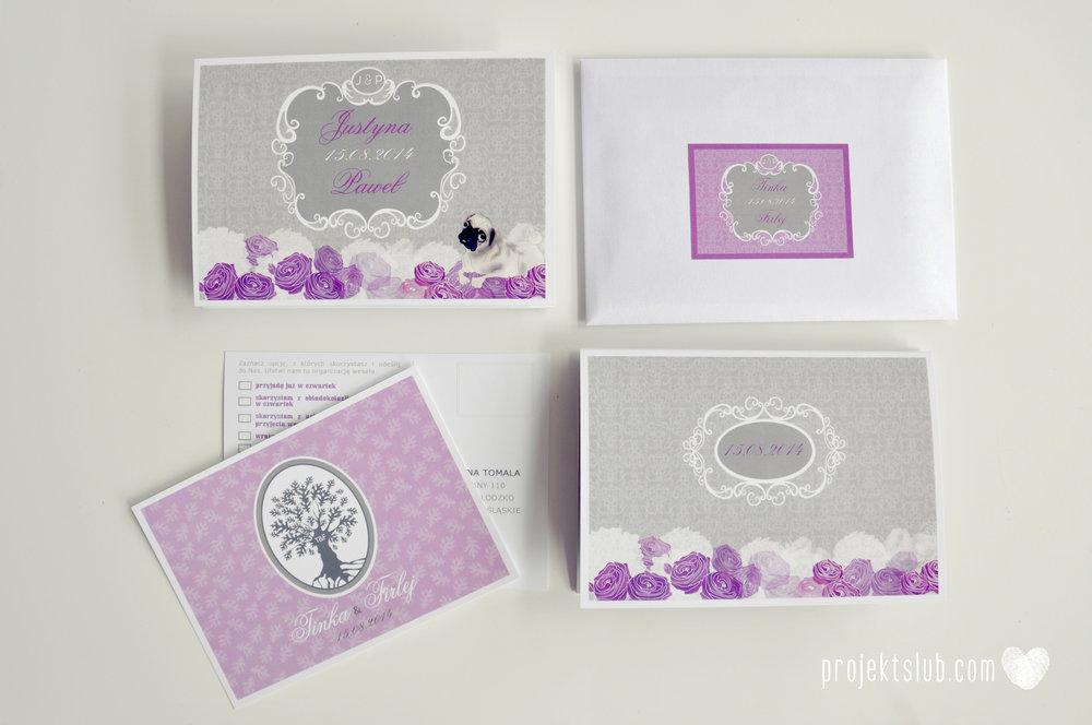 kolekcja papeteri ślubnej w stylu glamour eleganckie kwiatowe fioletowo szare zaproszenia ślubne z pupilkiem rysunek pieska Projekt Ślub (10).jpg