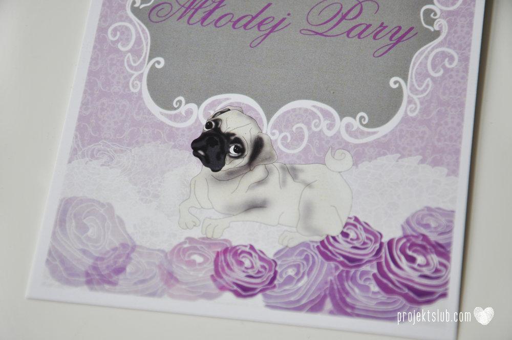 kolekcja papeteri ślubnej w stylu glamour eleganckie kwiatowe fioletowo szare zaproszenia ślubne z pupilkiem rysunek pieska Projekt Ślub (18).jpg
