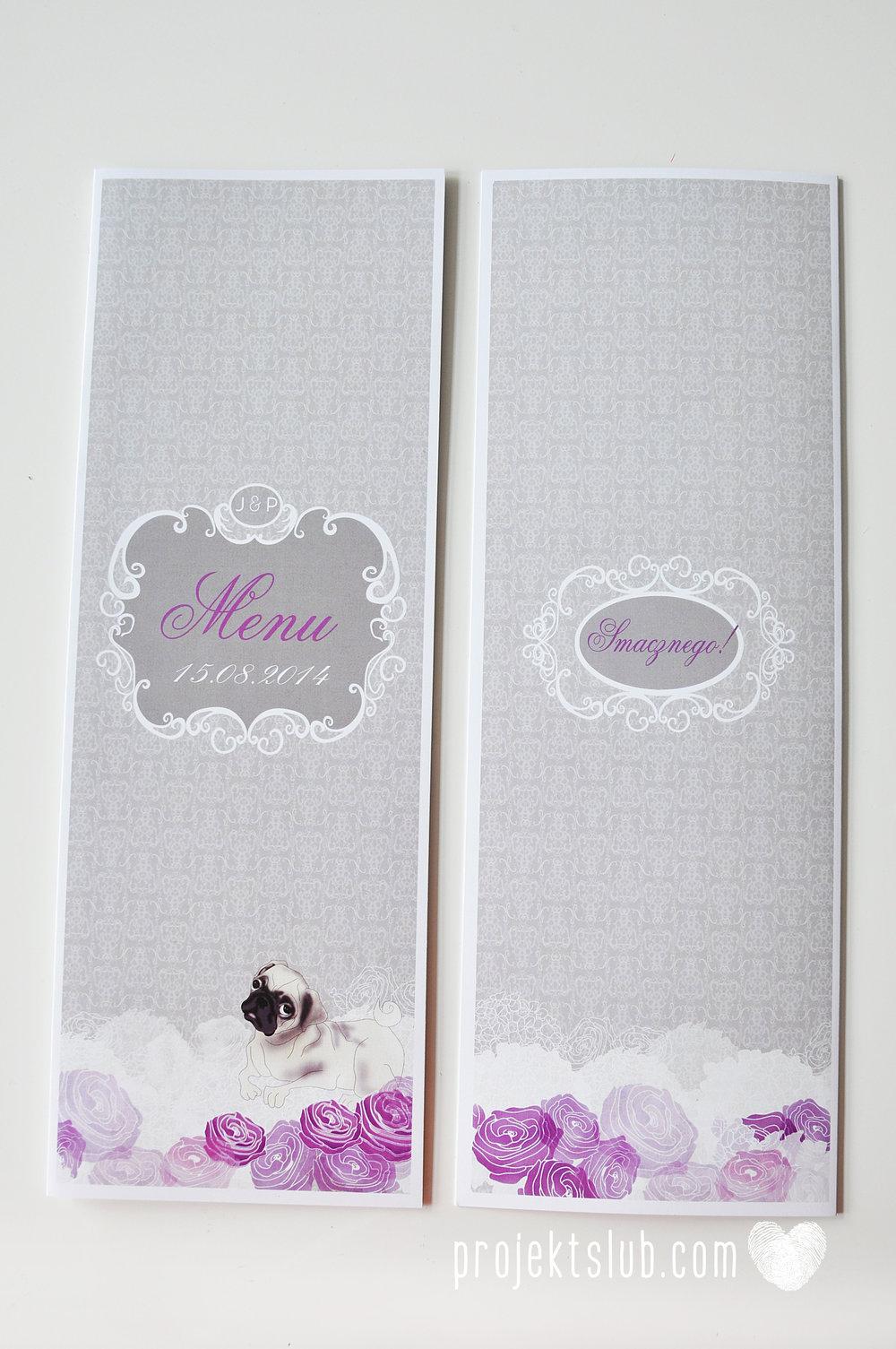 kolekcja papeteri ślubnej w stylu glamour eleganckie kwiatowe fioletowo szare zaproszenia ślubne z pupilkiem rysunek pieska Projekt Ślub (23).jpg